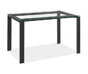 Room & Board Glass Top Dining Table w/ Black Metal Frame