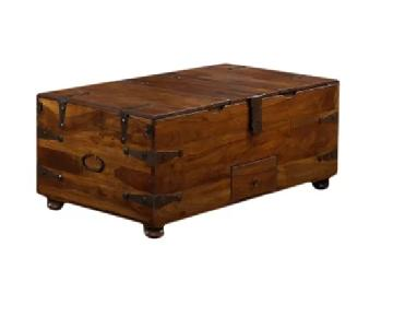 Crate & Barrel Mapleton Antique Style Trunk Coffee Table