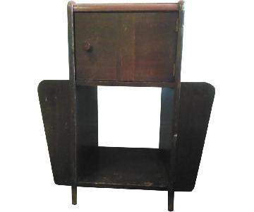Vintage Wood Side Table/Magazine Rack