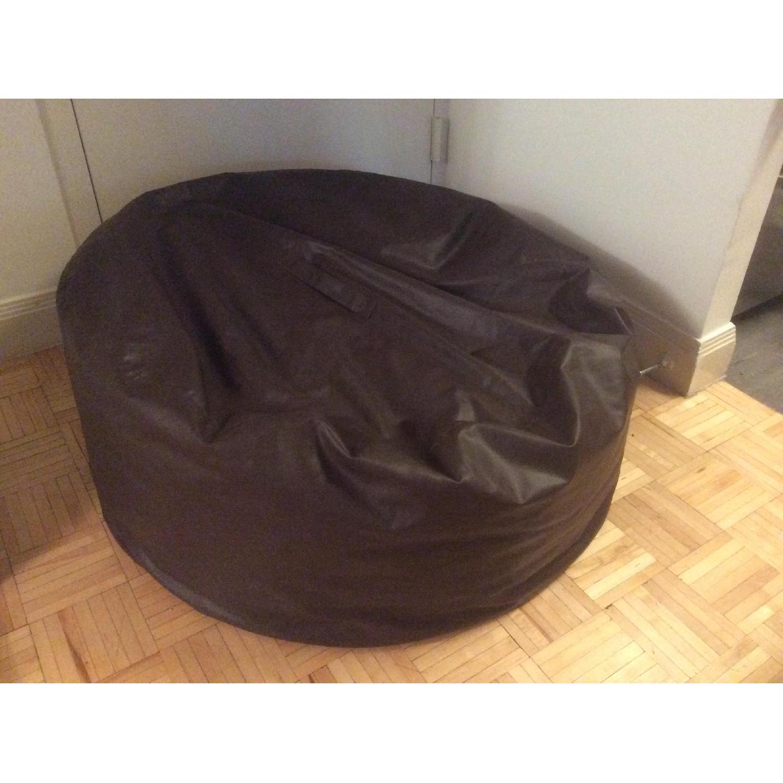 Brown Leather Beanbag Chair AptDeco