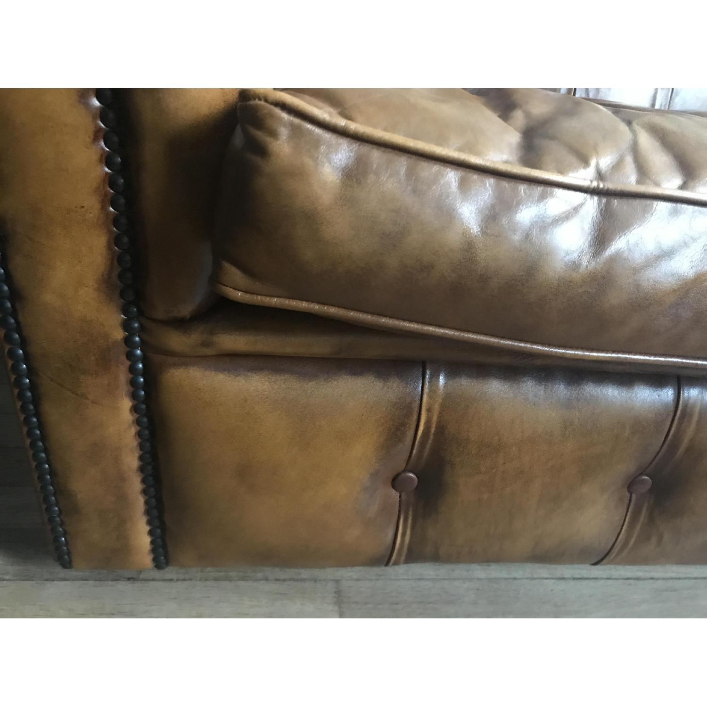 English Roll Arm Leather Sofa w Tufted Back & AptDeco