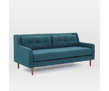 West Elm Crosby Mid Century Sofa in Blue
