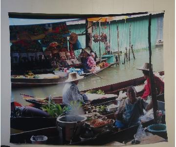 Floating Markets of Thailand Colorful Cloth Wall Hanging