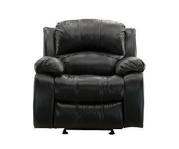 Raymour & Flanigan Black Leather Glider Recliner