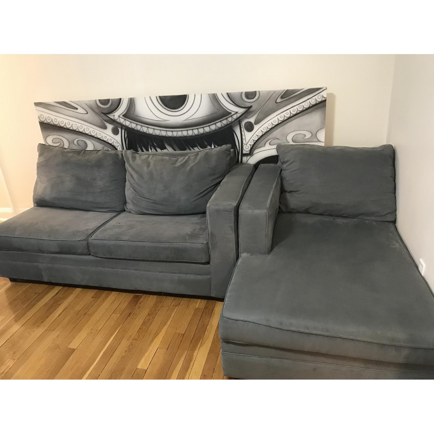 Bobs 2 Piece Sectional Sofa in Grey w Pillows AptDeco