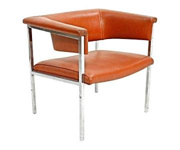 Mid Century Modern 1970 Chrome Vinyl Cube Lounge Club