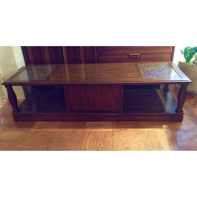 Mid Century Modern Rectangular Solid Wood Coffee Table