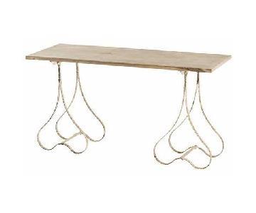Arteriors Eakin Table w/ Rustic Wood Top & Iron Legs