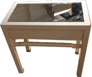 Lillian August White Lacquered Mirrored Side Table