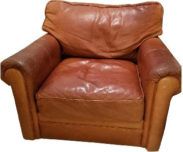 Brown Leather Chair and a Half