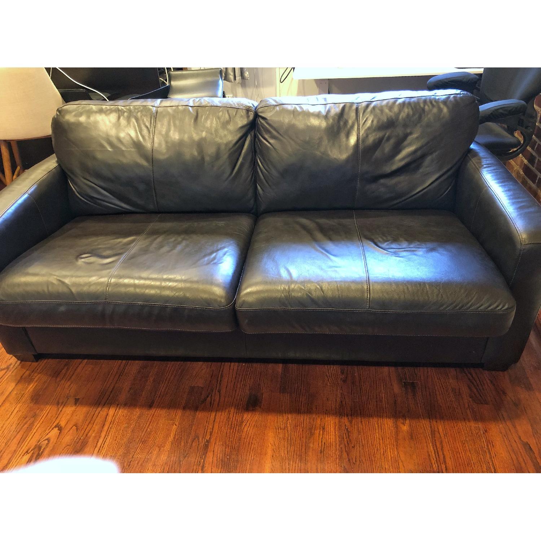 ... Raymour U0026 Flanigan Trent Leather Queen Sleeper Sofa 1 ...