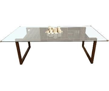 Crate & Barrel Wood & Glass Modern Dining Table