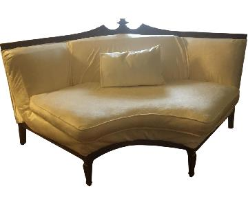 Antique Love Seat in White Upholstery