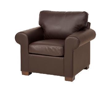 Ikea Ektorp Brown Leather Chair w/ Dark Gray Slip Cover