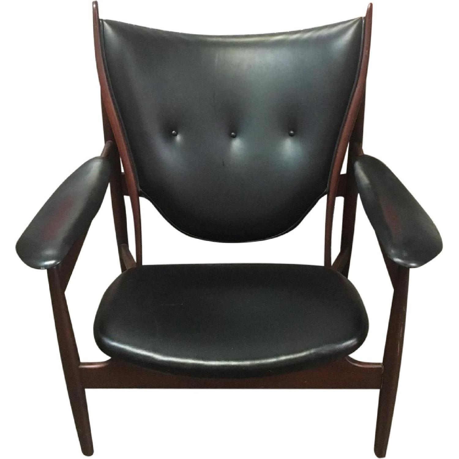 Interior Crafts Inc Mid Century Leather & Wood Chair