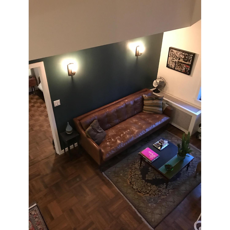 ABC Carpet And Home Brown Leather Sofa AptDeco