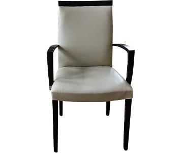 Mitchell Gold Ivory Leather & Wenge Dining Armchair