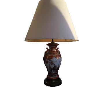 Porcelain Base Lamp w/ Painted Chinese Motifs