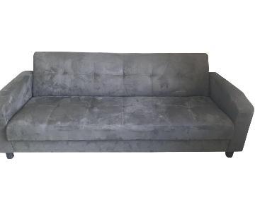 Blue Microsuede Sleeper Sofa