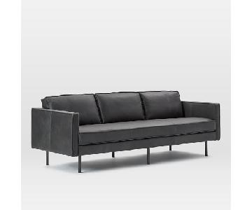 West Elm Axel Fog Leather Sofa