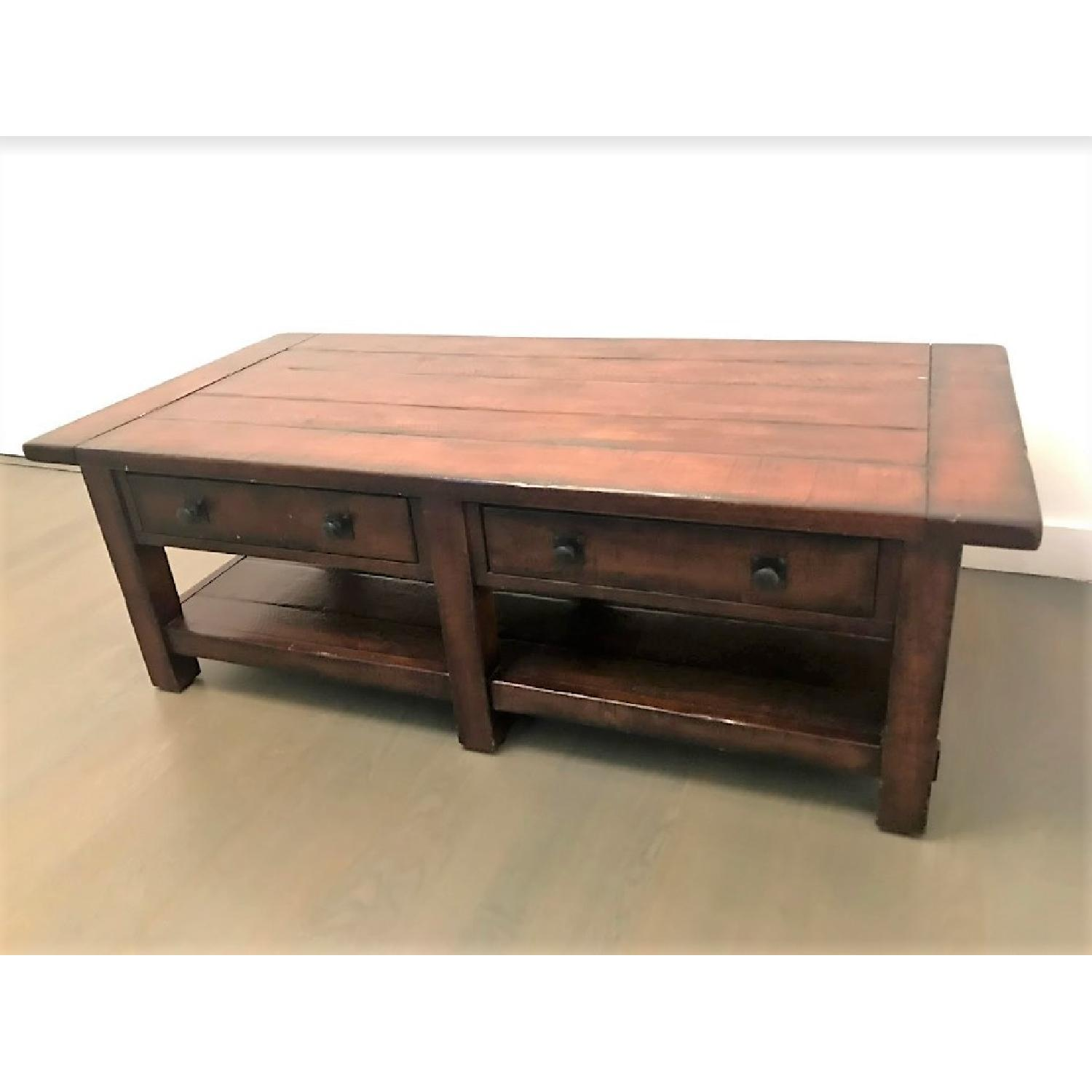 Pottery Barn Benchwright Coffee Table in Rustic AptDeco