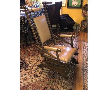 Antique Wood & Leather Platform Rocker