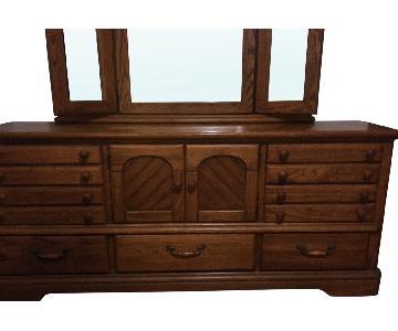 Vintage Oak Wood Dresser w/ Mirror