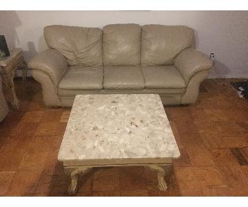 Cream Leather 3 Seater Sleeper Sofa