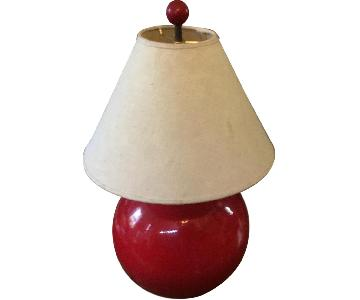 Vintage 1980s Red Ceramic Table Lamp