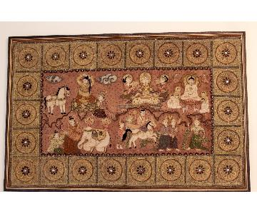 Antique 1920s Burmese Ritual of a Buddha Kalaga Tapestry