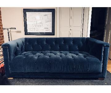 Restoration Hardware Indigo Velvet Savoy Sofa