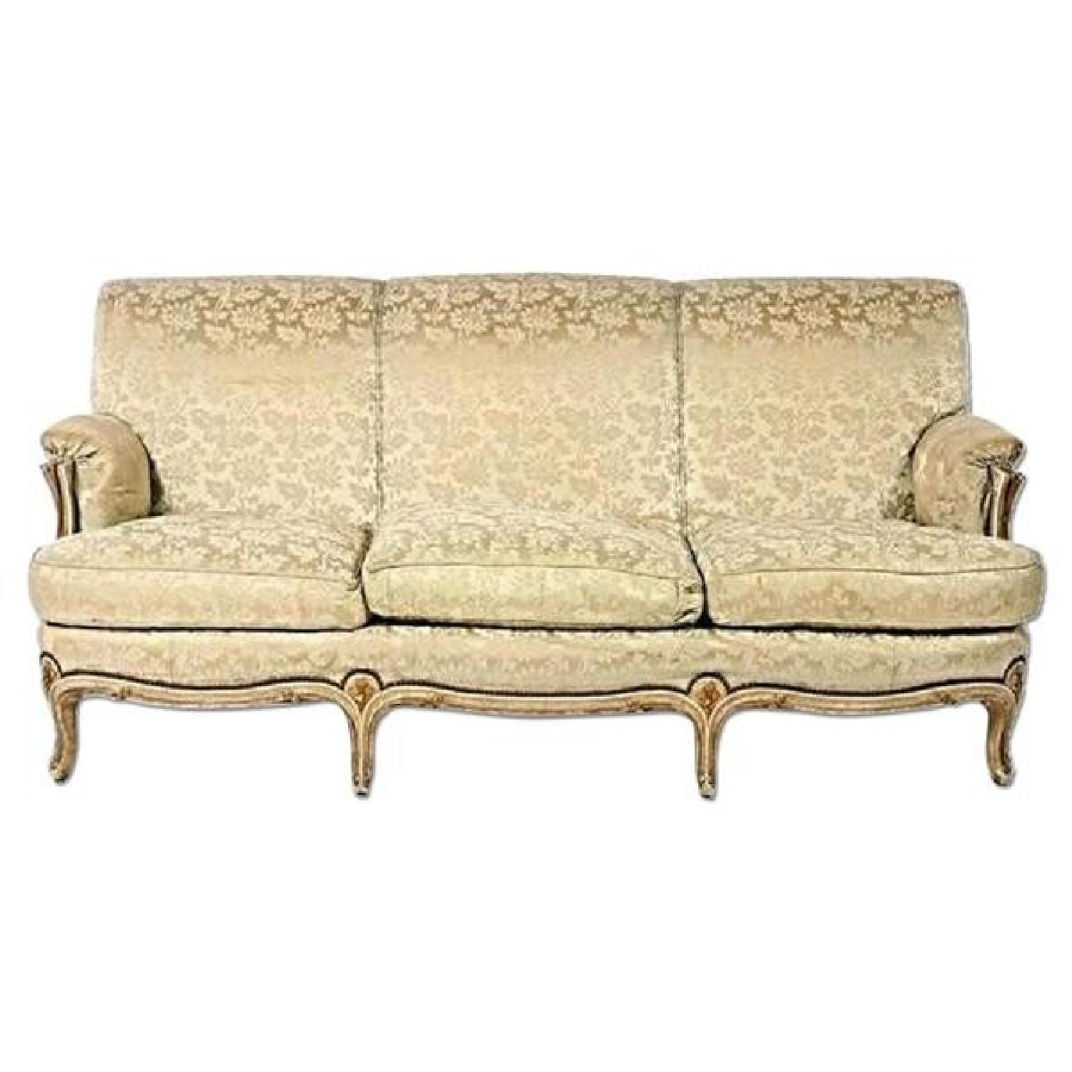 Antique 1930 Louis XV Style Painted Gilt Loveseat
