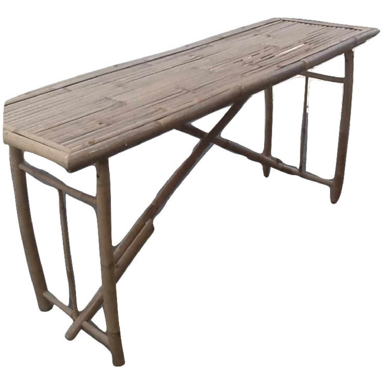Long Bamboo Folding Table AptDeco