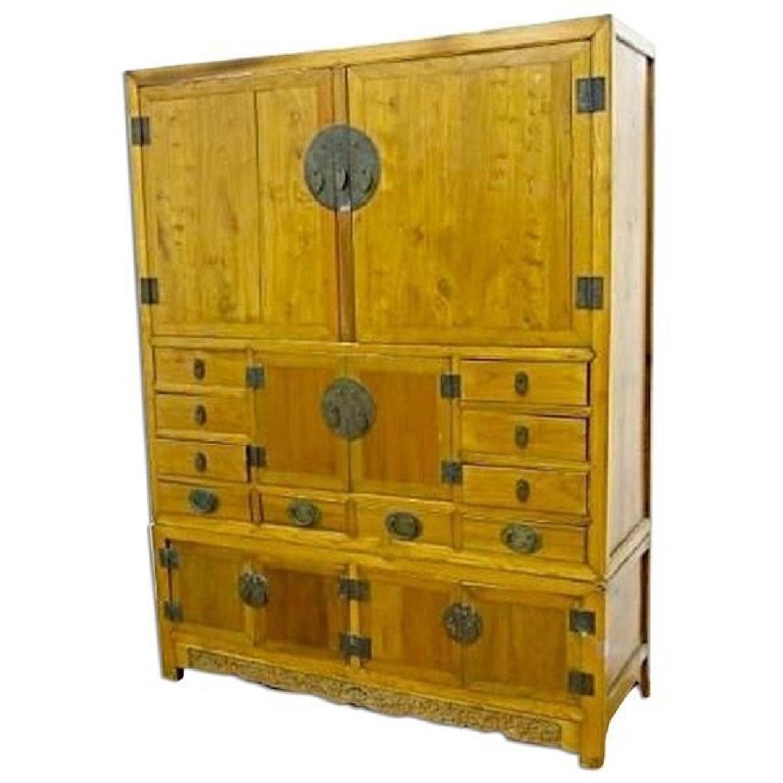 Asian Elm Pine Storage Cabinet/Armoire