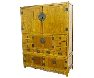 Asian Elm Pine Storage Cabinet/Armoire