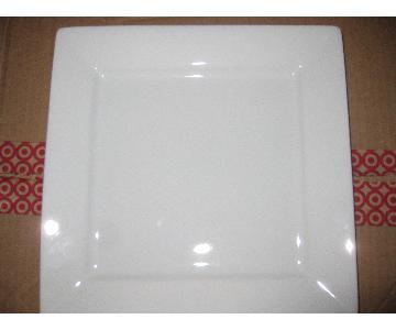 Porcelain China White Square Dinner Plates