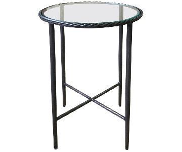 Designe Gallerie Round Black Metal Glass Top Side Table