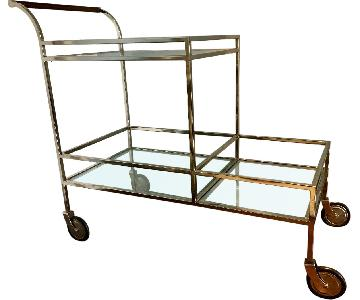 Restoration Hardware Polished Nickel Bar Cart w/ Shelves