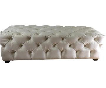 Tufted Ottoman/Bench in Cream Color