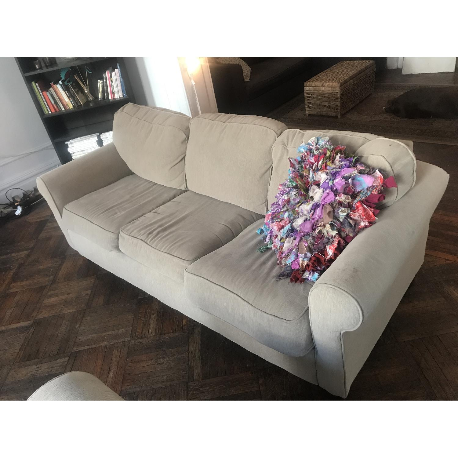 Beige Fabric Sofa w Pull Out Bed AptDeco