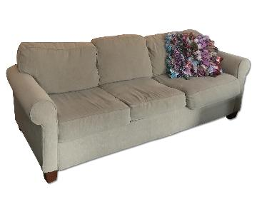 Beige Fabric Sofa w/ Pull Out Bed