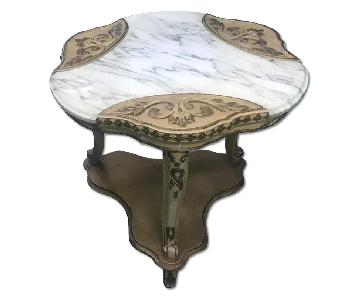 Antique 1940s Marble Top End Table