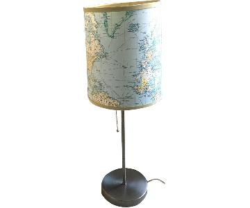 Table Lamp w/ World Map Printed Shade