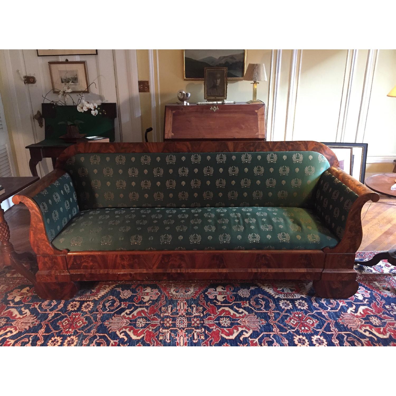 Biedermeier Carved Wood & Green Sofa AptDeco