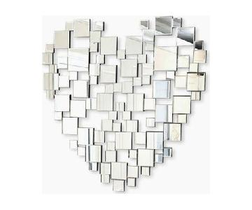 Abbyson Heart Shaped Wall Mirror in Silver