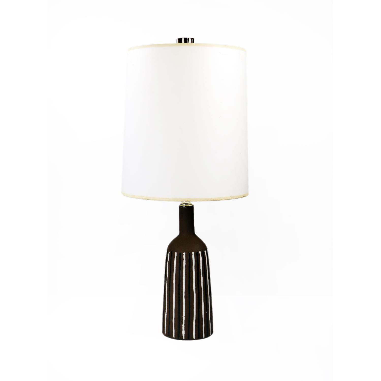 Mid Century Brown & White Striped Ceramic Lamp