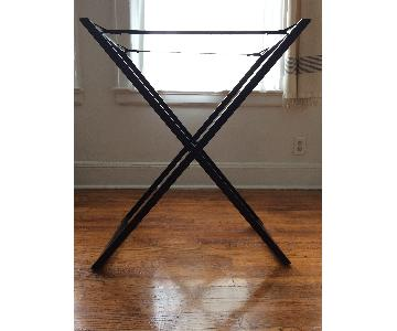 West Elm Tall Butler Table Stand + Woven Tray