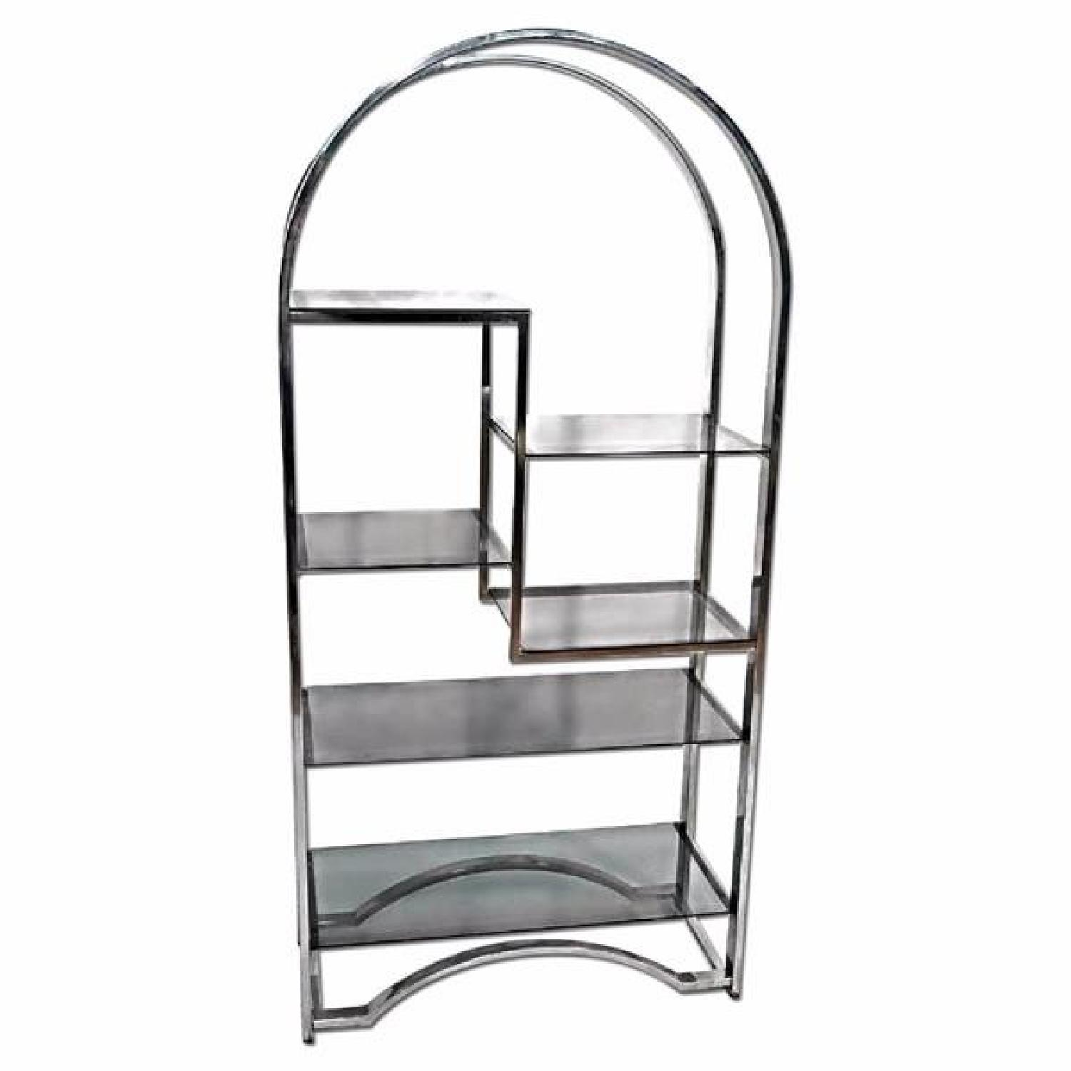 Milo Baughman Chrome Arched Top Etagere Smoked Glass Shelves - image-0