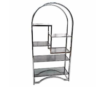 Milo Baughman Chrome Arched Top Etagere Smoked Glass Shelves