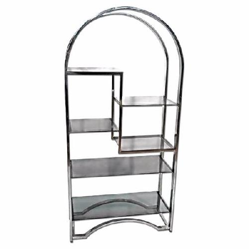 Used Milo Baughman Chrome Arched Top Etagere Smoked Glass Shelves for sale on AptDeco